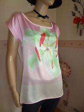 Satin Bluse-Shirt im Materialmix in Bund mit Tolle Orchideen frontprint Gr.42-44