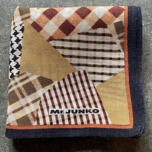 USED MEN'S BROWN CLOTH PATCHWORK PLAID HANKY POCKET SQUARE HANDKERCHIEF~17""