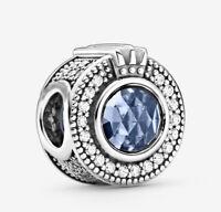 Authentic Pandora 799058C01 S925 ALE Sparkling Blue Crown O charm Bead