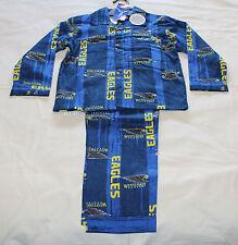 West Coast Eagles AFL Boys W16 Blue Printed Flannel Pyjama Set Size 10 New