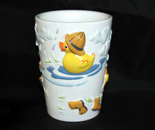 RAINY DAY Umbrella Duck colorful Embossed Bath Tumbler NEW Cute