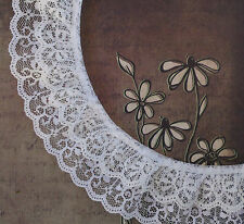 LACE DOUBLE RUFFLED WHITE 5cms  WIDE x 1 yard SEWING EMBELLISHMENTS CRAFT