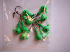 PACKAGE OF 10 LIME GREEN 1/8 OZ. JIG HEADS - WALLEYE