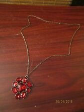 Ladies Red Cluster  Pendant Necklace