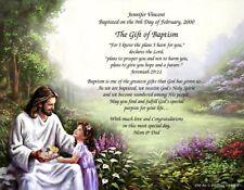 "Personalized Poem Baptism Gift ""Girl Baptism""on Christ with Girl Art Background"