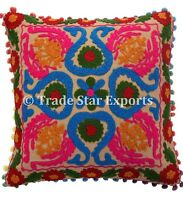 "Indian Uzbek Suzani Embroidered Cushion Cover 16X16"" Square Decorative Pillow"