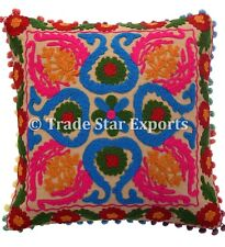 "Indian Uzbek Suzani Embroidered Cushion Cover 16X16"" Square Decorative Pillow"