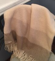 """Home 58"""" x 52"""" Throw Blanket Tan Brown with Fringe 100% Acrylic"""