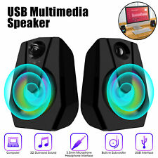 Rgb Led Usb Computer Gaming Speakers Surround Sound Loud Deep Bass for Laptop Pc