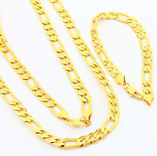 24K Gold Plated 8Mm Flat 3 Space 1 Strong Men Chains Necklace Bracelet Set T009
