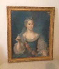 Tableau Ancien Pastel XVIIIe Portrait Femme 18e Sur Papier
