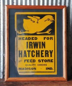 Old Headed For Irwin Hatchery Feed Store Framed Sign Madison Indiana IN Chicks