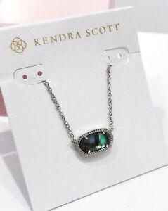 NEW Authentic KENDRA SCOTT Elisa 454 Rhodium Necklace Abalone Shell Pendant