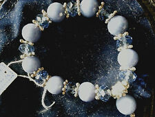 """Bracelet, Agate & Crystal, beaded 2 1/2""""-One of a kind, NEW stretches FREE SHIP!"""