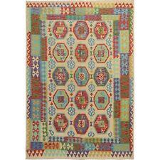 "6'8""x9'8"" Colorful Flat weave Afghan Kilim Pure Wool Hand Woven Rug R57459"