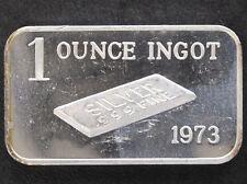 1973 1 Ounce Ingot Silver Art Bar CT-9 Crabtree Mint P1104