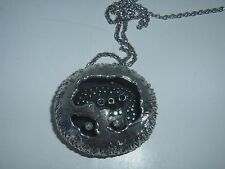 RARE 1970s SIGNED GUY VIDAL BRUTALIST SILVER/ PEWTER POD PENDANT/NECKLACE