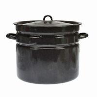 Deep Enamel Coated Cooking Stock Soup Pot 20L Commercial Stew Casserole Brew Pan