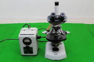 Carl Zeiss Trinocular Laboratory Microscope + 4 Objectives Plan 25/0.65, 40/0.65