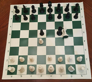 NEW Tournament CHESS Set Basic Plastic Pieces, Vinyl Board extra Queens B1 READ