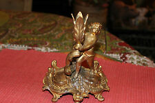Antique Victorian Art Deco Single Candle Stick Holder-Cherub Angel-Gilded Gold