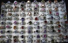 45pcs Wholesale Lots Multi-Coloured CZ Charm Rhinestone Wedding Lady Rings EH318