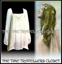 River Island Cream Victorian Boho Hippy 60s Crochet Lace Dress Tunic Top UK 8 10