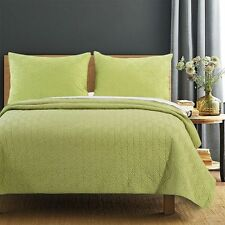Queen Quilt Set Piper Green Dove Tail Leaf Coverlet