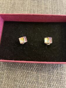 925 Silver Not Hallmarked Crystal Ball Square Cube Stud Earrings