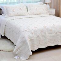 Beige Patchwork Quilted Bedspread Set Queen/King Size Coverlet Blanket Throw New