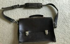 Basader Full Grain Leather Messenger Bag/Briefcase - Brown - Handmade in the US