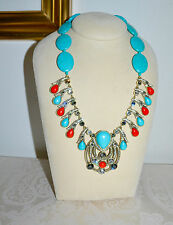 NIB $350 HEIDI DAUS Taos Chic Simulated Turquoise Coral Necklace Southwest Glam