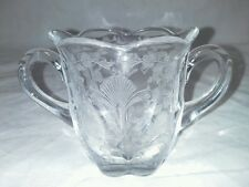 First Love Duncan And Miller Open Sugar Bowl Etched 1940s USA Vintage Clear