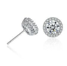 Sterling Silver 10mm Crown Round Cubic Zirconia CZ Stud Earrings Gift Box D12