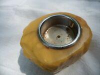 Vintage MCM Alabaster Natural Crystal Rock Candle holder Stone Marble Tea light