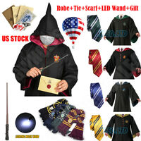 *Robe+Tie+Scarf+LED Wand* Harry Potter Robe Costume Halloween Cosplay Xmas Party