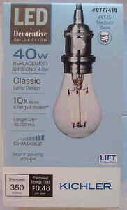 Kichler LED 40W/4W A15 Medium Filament-Soft White 2700K-Dimmable-513739-Save 2+