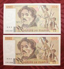 Suite de 2 billets de 100 Francs Delacroix 1978 - SLP