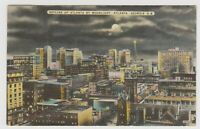 Vintage Linen Postcard Atlanta Georgia GA Skyline by Moonlight Buildings Night