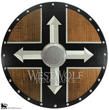 Red Oak Wooden VIKING BERSERKER 4 ARROW CROSS SHIELD --- 26 inch Full Size Armor