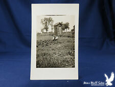 Unusual RPPC Outhouse By Garden Man Weeding Hoeing Garden GREAT PHOTO