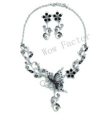 Black Rhinestone Crystal Butterfly Floral Necklace and Earrings Set - Gift Boxed