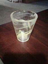 One (1)Kosta Boda Heavy Glass Drinking Yellow Swirl Beverage Drink Tumblers