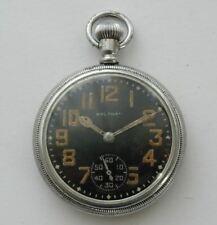 WORLD WAR II ERA, BLACK DIAL WALTHAM USA, 9 JEWEL POCKET WATCH, MILITARY ?