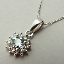PRETTY 9CT WHITE GOLD, AQUAMARINE & DIAMOND PENDANT NECKLACE