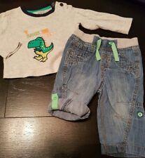 boys 6-9 months rex dino top denim joggers jeans shorts pull on up bundle next