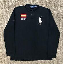 Polo Ralph Lauren Embroidered SPAIN Flag #3 Big Pony l/s Sleeve Polo Shirt L EUC