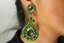 Green Olive Color Rhinestone Chandelier Crystal Clip On Rhodium Plated Earrings