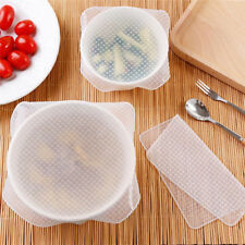 4pcs Stretch Reusable Silicone Bowl Food Storage Wrap Cover Seal Fresh Lids Film