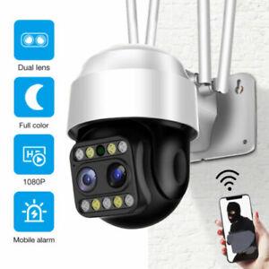 Dual Lens HD 1080P WiFi IP Camera Wireless Outdoor CCTV PTZ Home Security IR Cam
